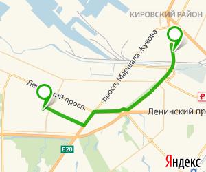 маршрут от метро автово